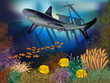 Underwater wallpaper with ship and shark,  vector