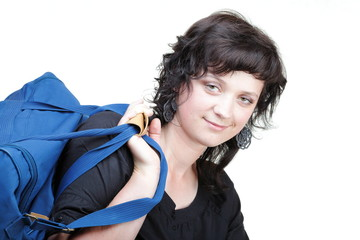 woman smile nd shoulder bag isolated