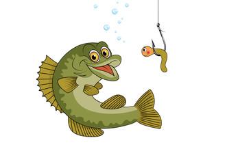 Fisch fangen mit Wurm