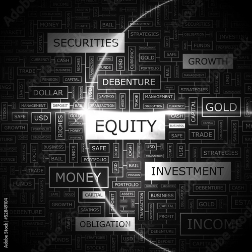 EQUITY. Word cloud concept illustration.