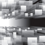 Fototapety Abstract grayscale virtual perspective background.