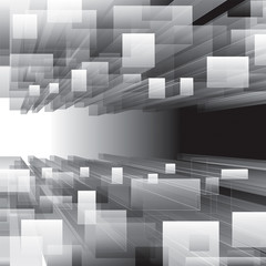 Abstract grayscale virtual perspective background.