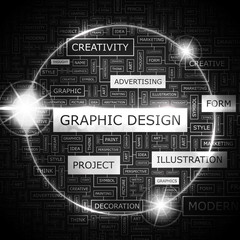 GRAPHIC DESIGN. Word cloud concept illustration.