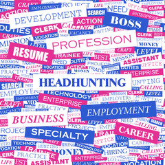 HEADHUNTING. Word cloud concept illustration.