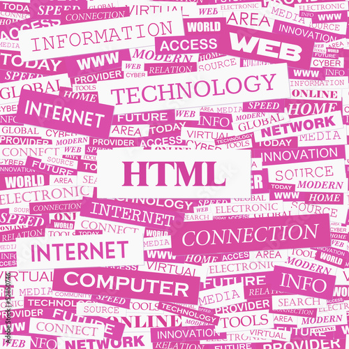 HTML. Word cloud concept illustration.
