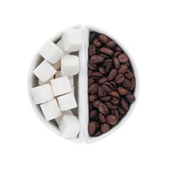 lump sugar and coffee beans in a ceramic bowl