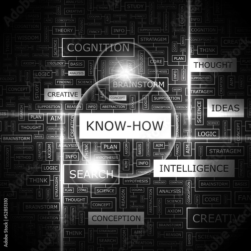 KNOW-HOW. Word cloud concept illustration.