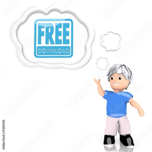 free download sign  thought by a 3d character