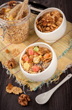 Cereal muesli (granola) with nuts and dried fruits.