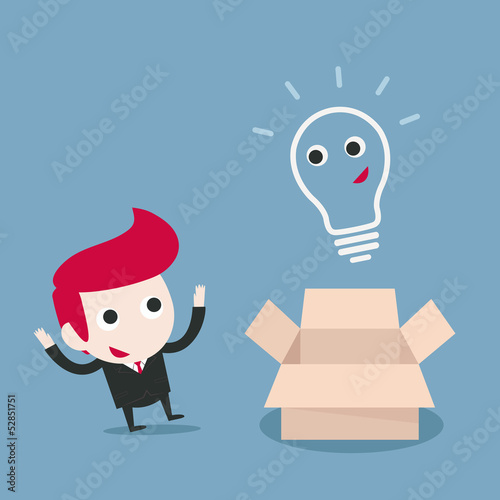 businessman and bulb idea vector