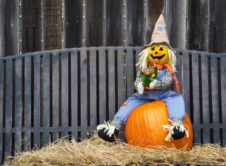 Scarecrow sitting on a pumpkin and hay