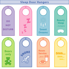 Sleep Bedroom Door Hangers, 8 styles, Pastels