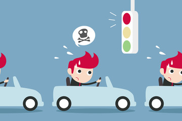 man and traffic jam-late concept. Vector