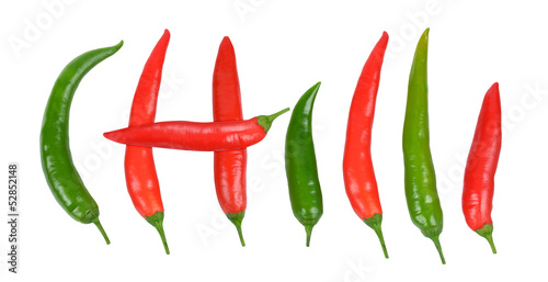 hot chili on white background