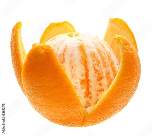 Open orange fruit isolated.