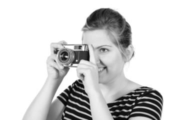 Retro monochrome pretty woman photographer