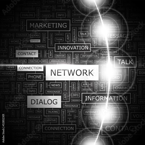 NETWORK. Word cloud concept illustration.