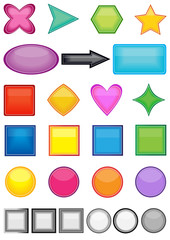 set of color glossy web buttons, vector design