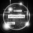 OPTIMIZATION. Word cloud concept illustration.