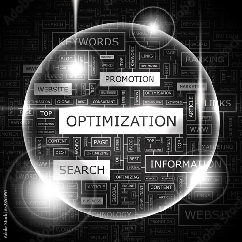 OPTIMIZATION. Word cloud concept illustration.