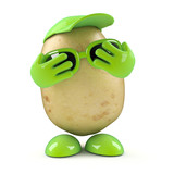 3d Potato is very shy