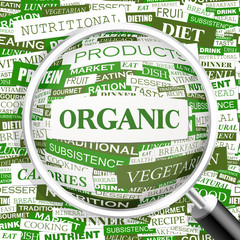 ORGANIC. Word cloud concept illustration.