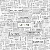 PATENT. Word cloud concept illustration.