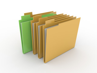 3d folder with documents on white background