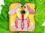 creative vegetable sandwich with cheese and ham