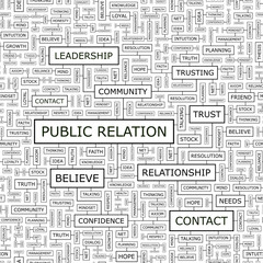 PUBLIC RELATION. Word cloud concept illustration.