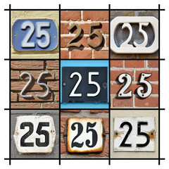 Collage of House Numbers Twenty-five