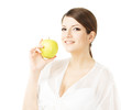 beautiful woman holding green apple, isolated white