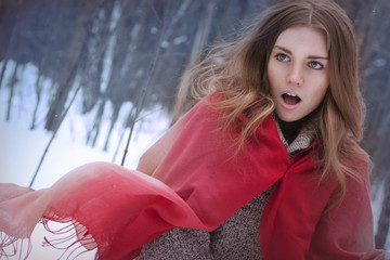 model girl in red riding hood image