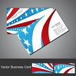 American Flag 4th july business card set wave design vector