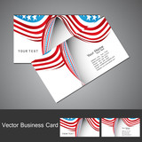 American Flag 4th july business card set  wave vector