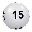 Loto, boule blanche numéro 15