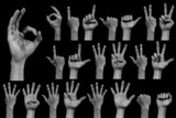 Hand on black - number and sings collection