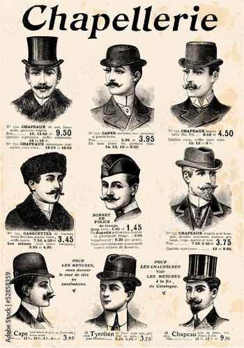 9 gentlemen with hat & mustache
