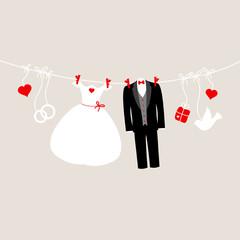 Wedding Symbols Hanging Retro Beige/Red