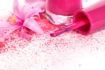 Pink nail polish background.