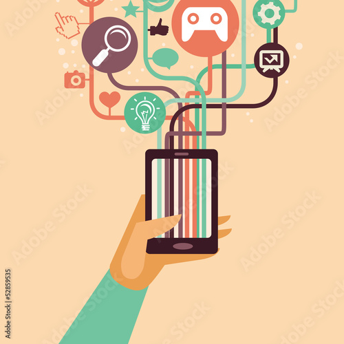 Vector hand and mobile phone with internet icons