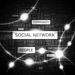 SOCIAL NETWORK. Word cloud concept illustration.