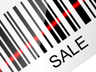 Closeup barcode sticker with SALE tag. Vector