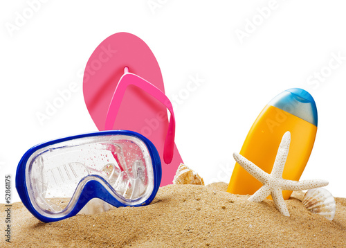 beach gear on the sea sand