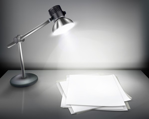 Desk with lamp. Vector illustration.