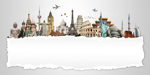 Travel the world concept torned paper monument
