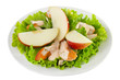 salad with apple on plate on white background
