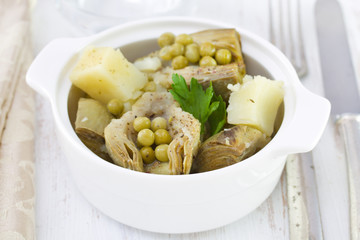 boiled artichoke with potato and peas