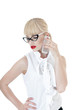 Sexy blonde  business woman using  smartphone wearing glasses.