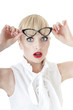 Shocked business woman in glasses over white background.